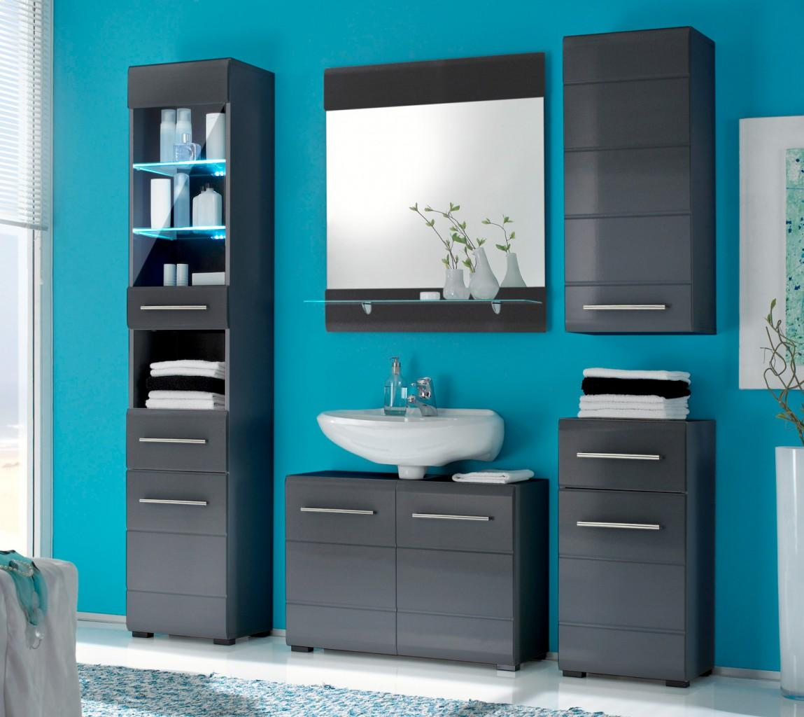 Badezimmer CHROME 5-tlg. Badmöbel Komplett-Set, grau-metallic