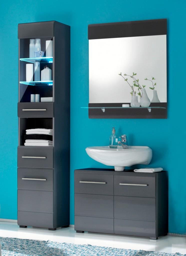 Badezimmer Chrome 3 Tlg Badmobel Komplett Set Optik Grau Metallic
