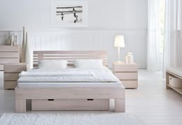 Massivholzbett Wood-Line Buche Weiß Bett von Hasena