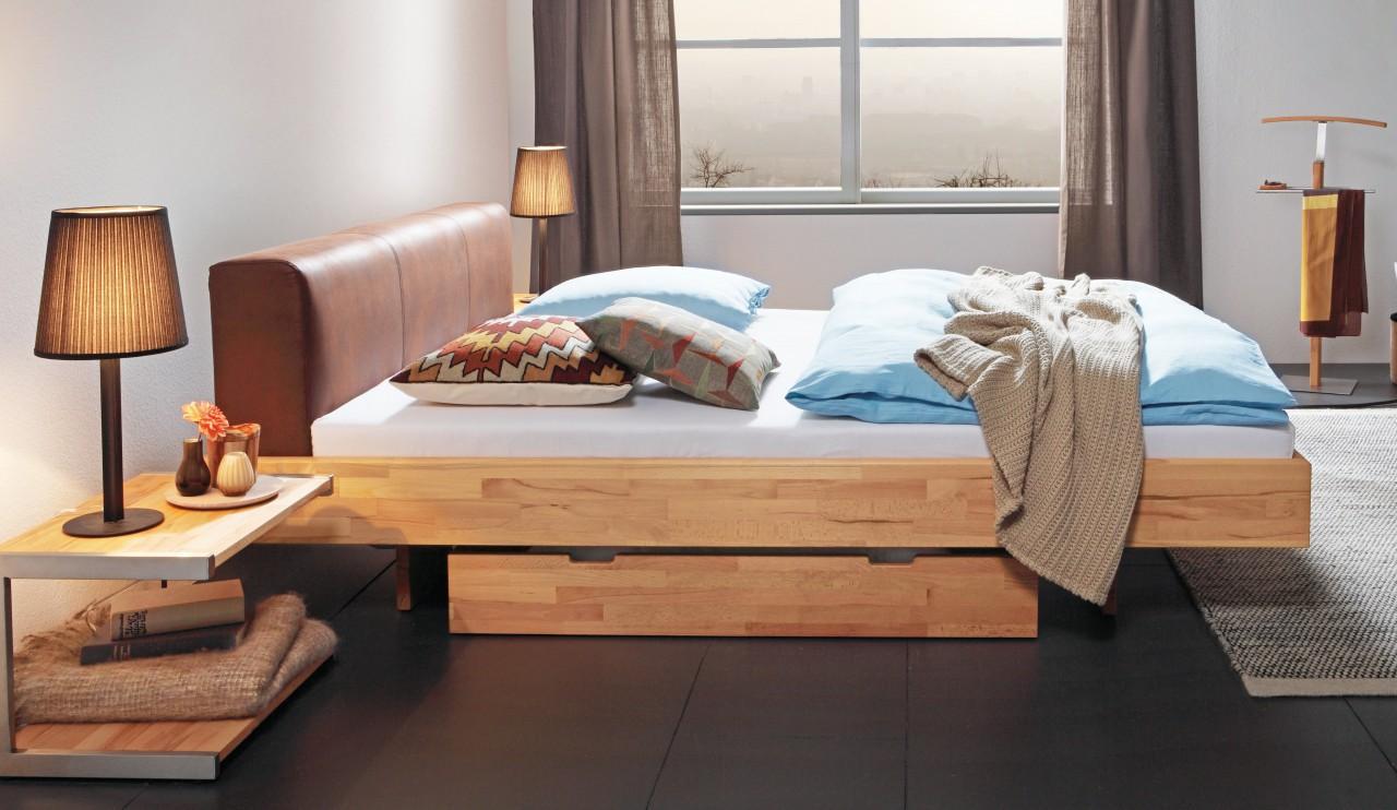 Schwebebett Wood Line Buche Massivholzbett Bett Hasena