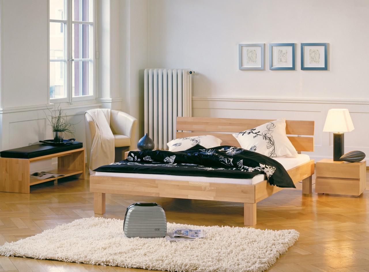 Doppelbett Holzbett Wood-Line Kernbuche Klassiker von Hasena