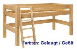 Kinderbett MOBY halbhohes Bett Leiter Kiefer massiv