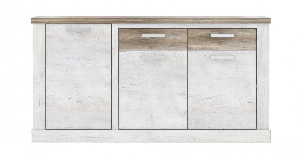 sideboard duro 3 t ren und 2 schubladen in pinie wei antik. Black Bedroom Furniture Sets. Home Design Ideas