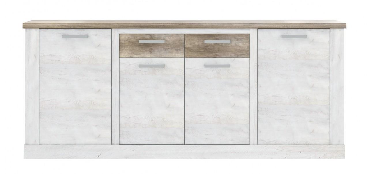 sideboard duro 4 t ren und 2 schubladen in pinie wei antik. Black Bedroom Furniture Sets. Home Design Ideas