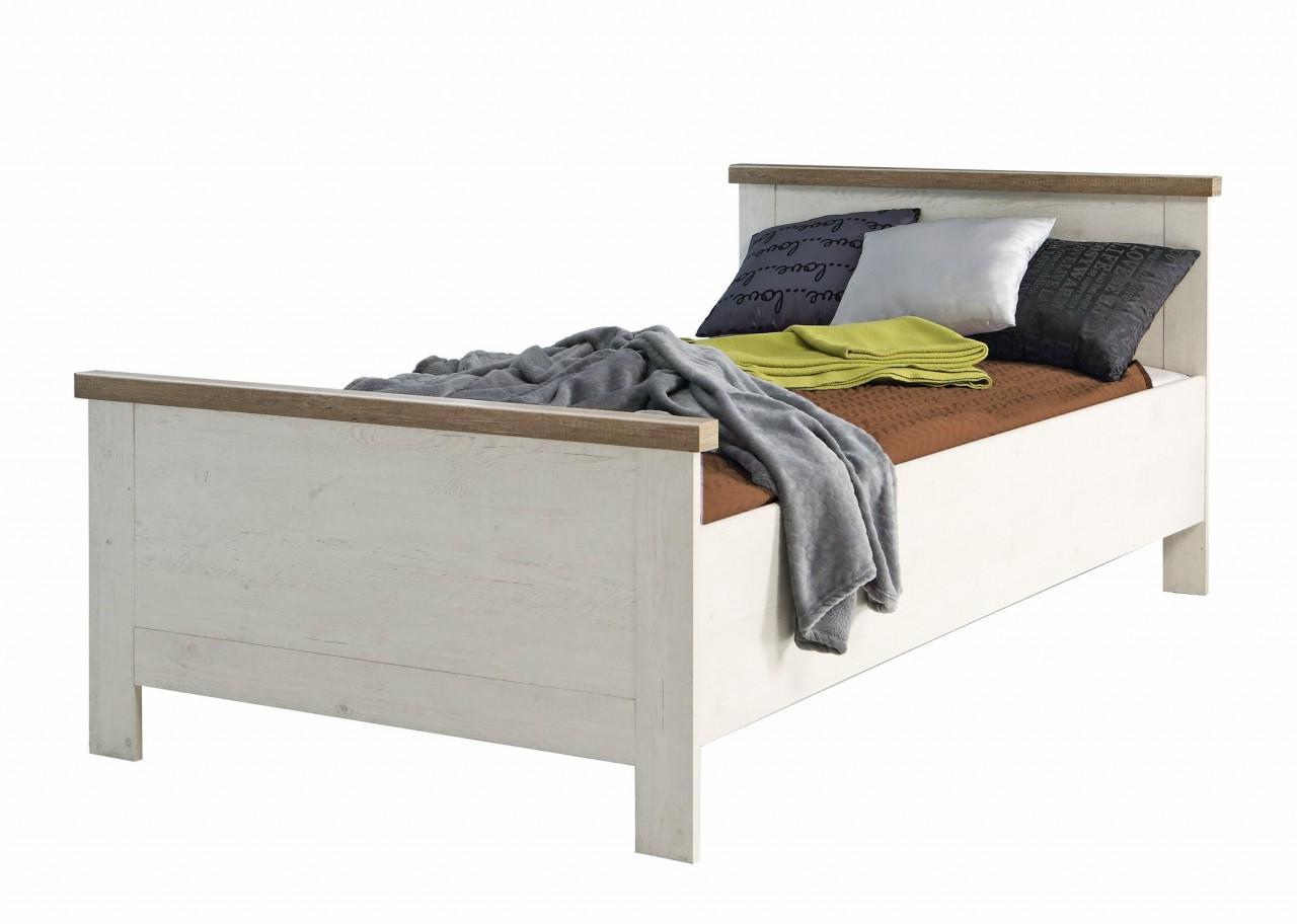 einzelbett duro 100 x 200 cm bett im optik pinie wei antik. Black Bedroom Furniture Sets. Home Design Ideas