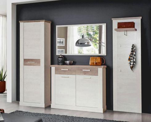 garderobe duro 4 tlg komplett set pinie wei absetzungen eiche antik. Black Bedroom Furniture Sets. Home Design Ideas