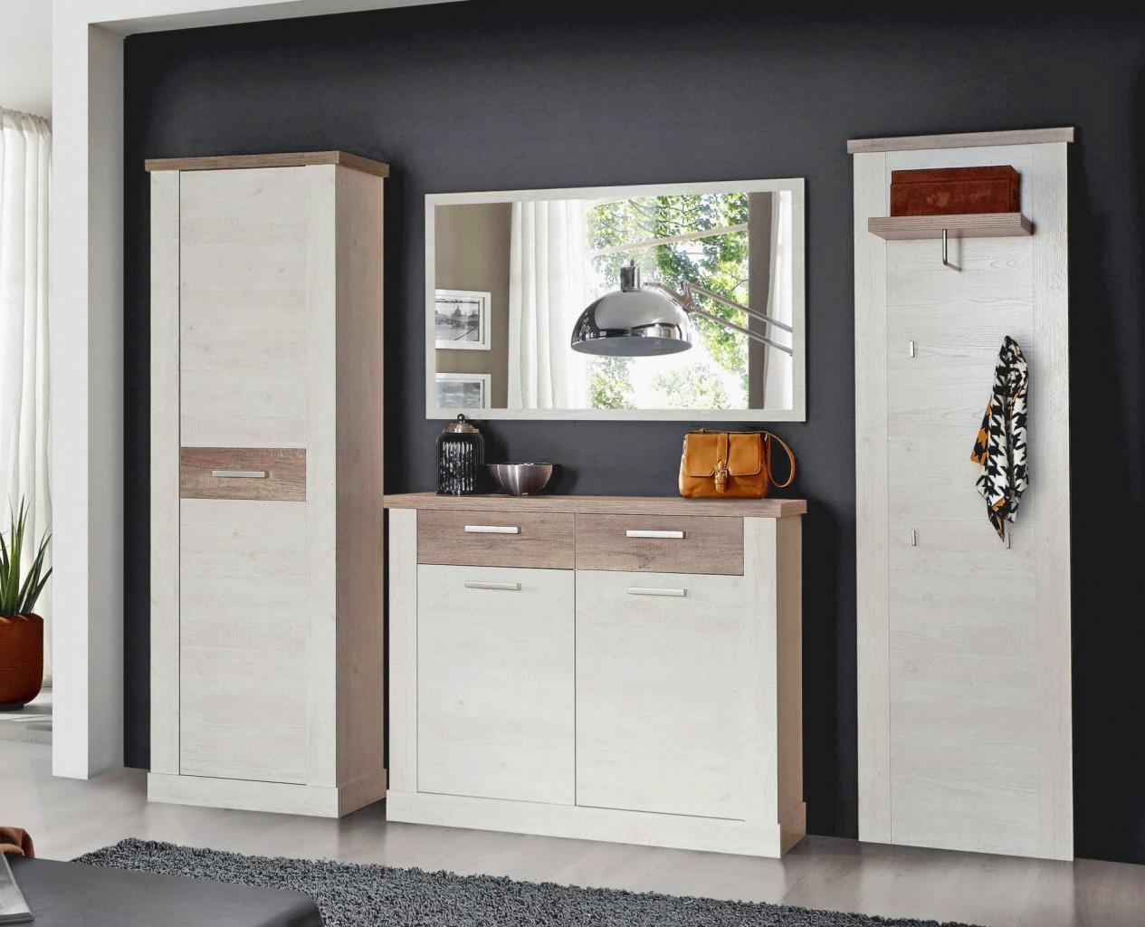 garderobe duro 4 tlg komplett set pinie wei absetzungen eiche antik. Black Bedroom Furniture Sets. Home Design Ideas