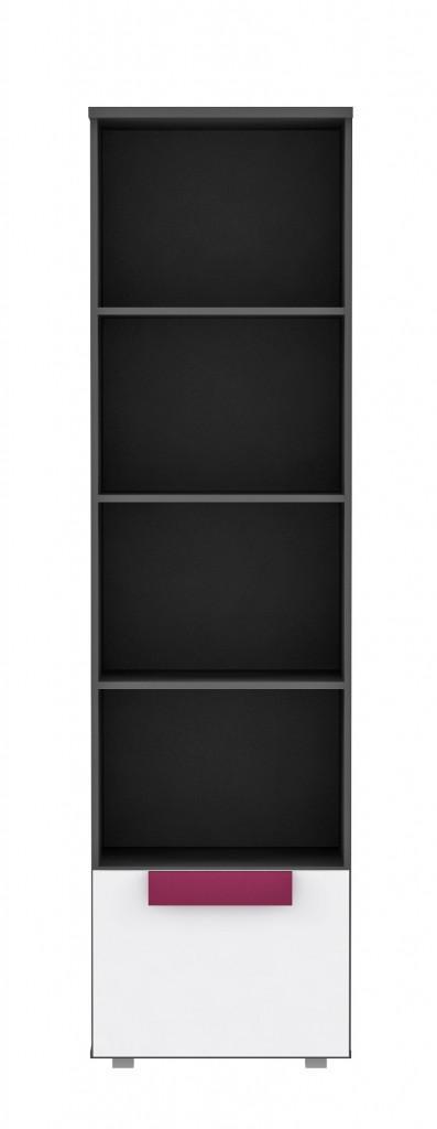 Bücherregal LIBELLE Regal, 1 Tür Optik Grau / Weiß / Pink