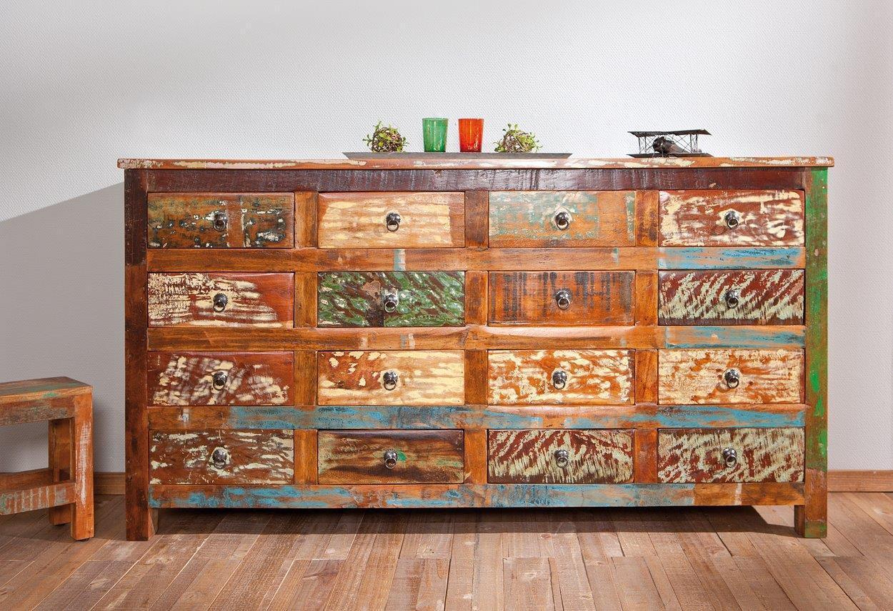 Mega Unique Vintage Sideboard FELIZES mit 16 Schubläden