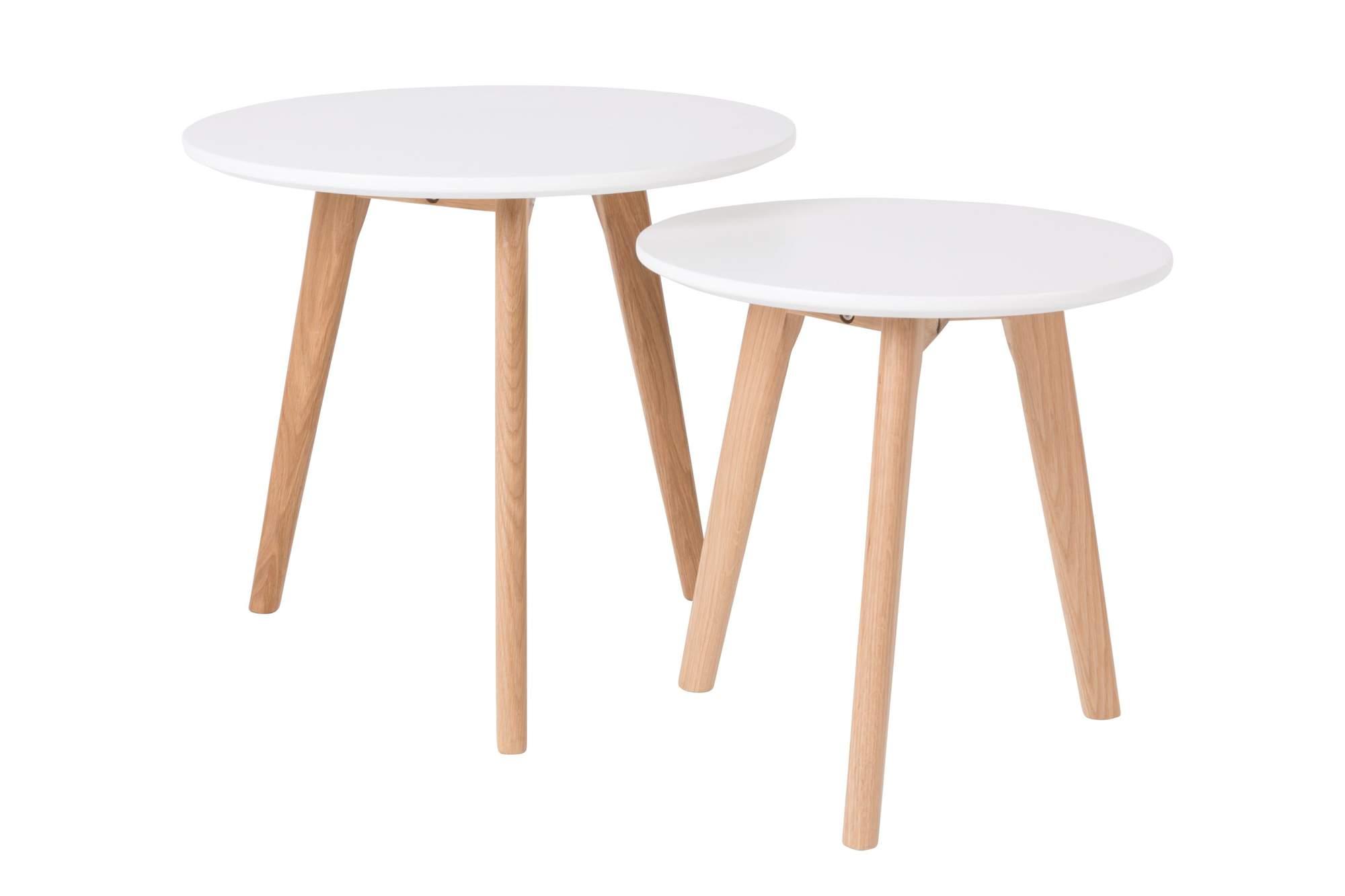 bodine beistelltisch 2er set beine eiche platte wei. Black Bedroom Furniture Sets. Home Design Ideas