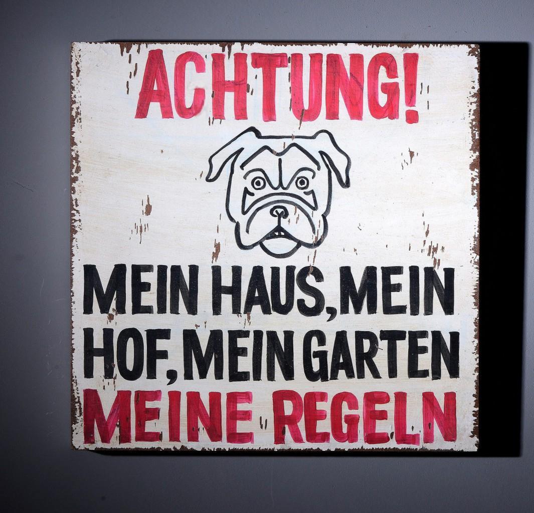 """Wall Art Deko Holzschild """"Achtung!.. """" im Vintage Look"""