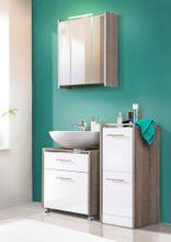 Badezimmer Komplett-Set VIDA 3-tlg., Badmöbel Front weiß Hochglanz