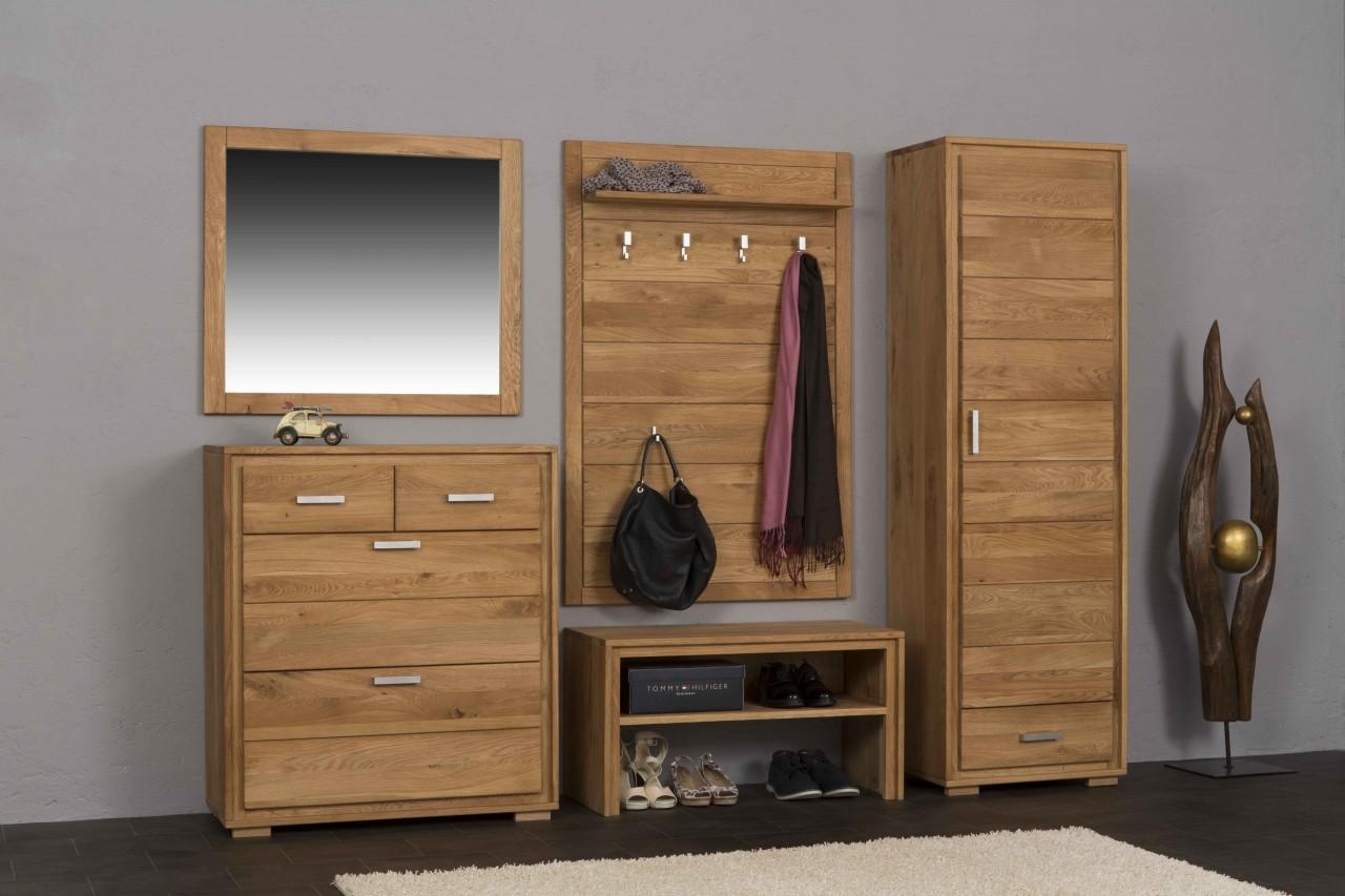 garderoben set basel i wildeiche massivholz ge lt gewachst 5 teilig. Black Bedroom Furniture Sets. Home Design Ideas