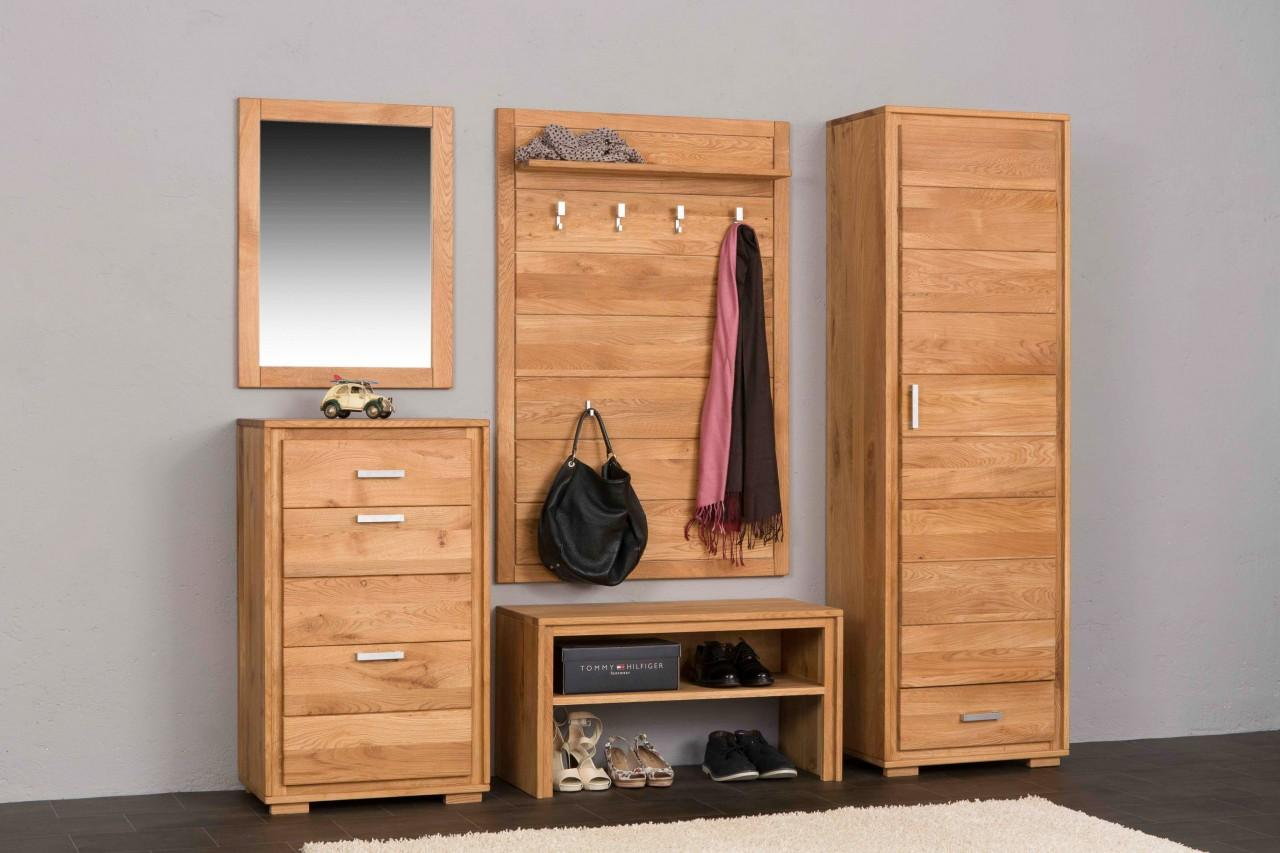 Garderoben set basel iii wildeiche massivholz ge lt for Garderobe trends
