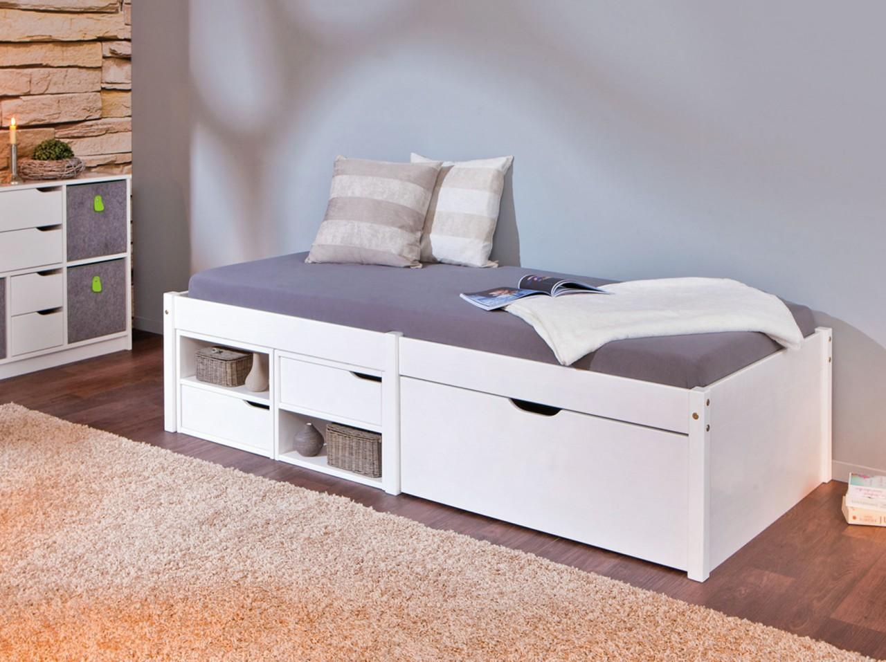 kinderbett varum 90 x 200 kiefer massiv wei lackiert mit schubladen. Black Bedroom Furniture Sets. Home Design Ideas