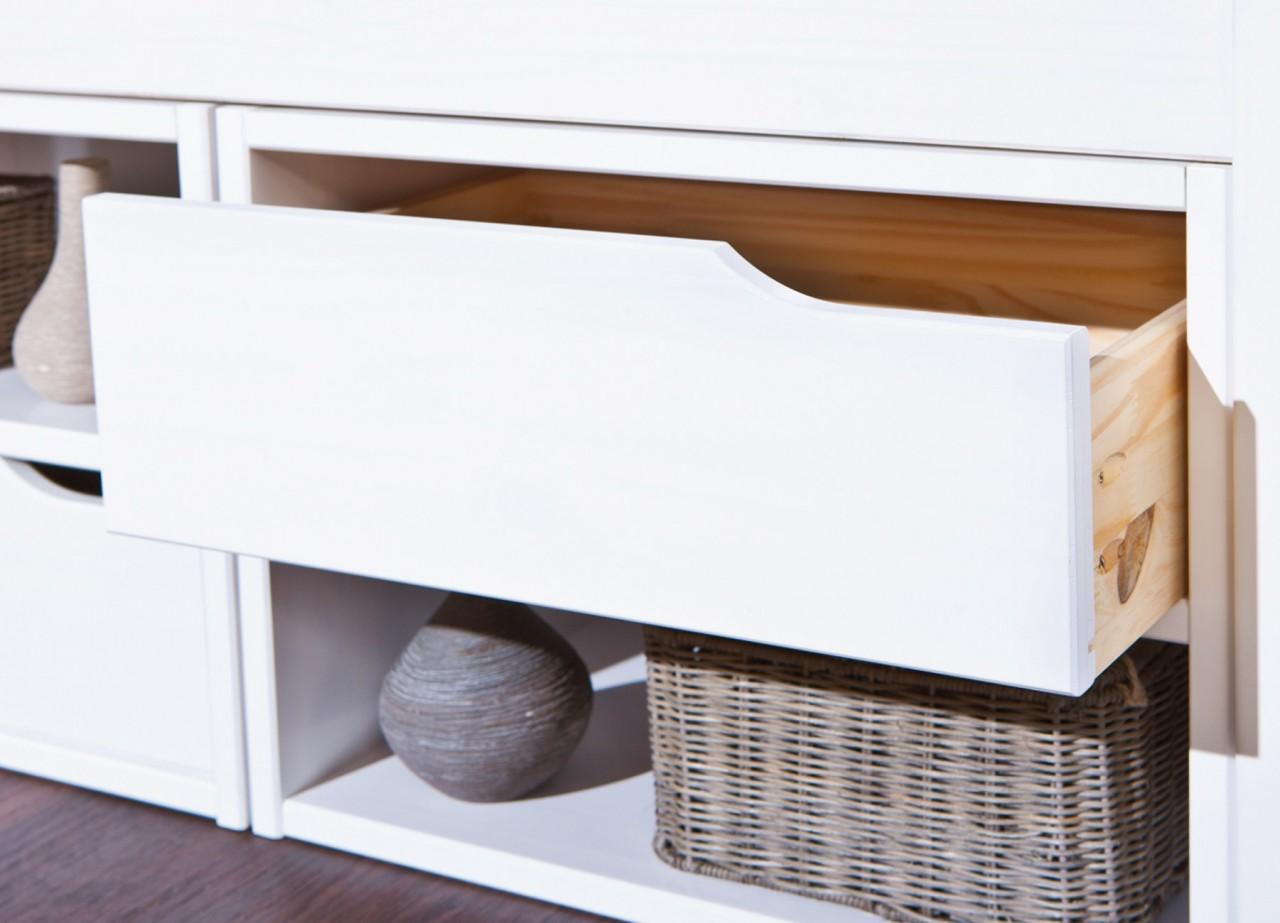 kinderbett varum 90 x 200 kiefer massiv wei lackiert mit schubladen. Black Bedroom Furniture Sets. Home Design Ideas