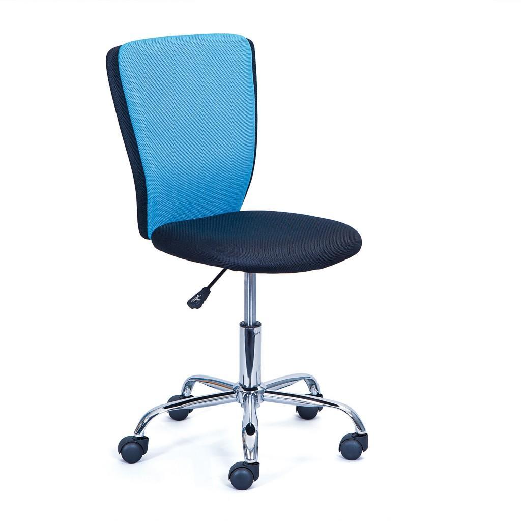 Kinderdrehstuhl Bürodrehstuhl CC 15 Bezug Blau Schwarz, Fußkreuz Chrom