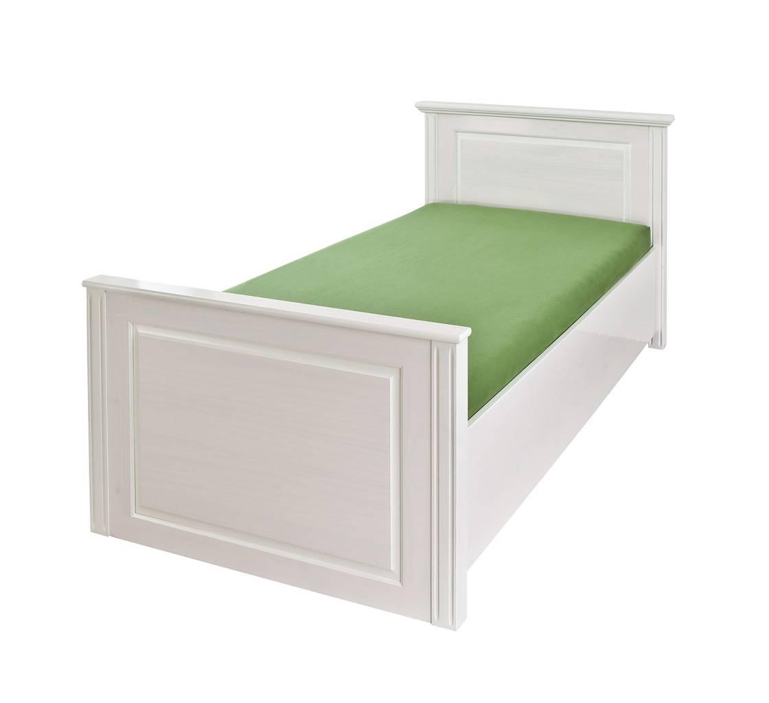 Einzelbett DANZ 90 x 200 cm Bett Kiefer massiv Weiß lackiert