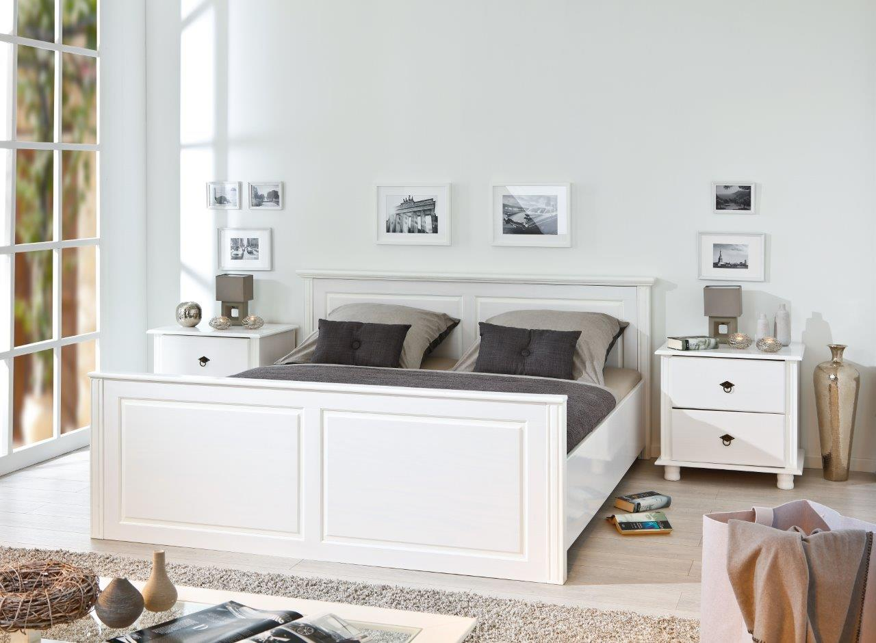 doppelbett danz 180 x 200 cm massivholzbett kiefer wei. Black Bedroom Furniture Sets. Home Design Ideas
