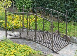 Gartenbrücke DUKONO Teichbrücke aus Stahl dunkelbraun lackiert