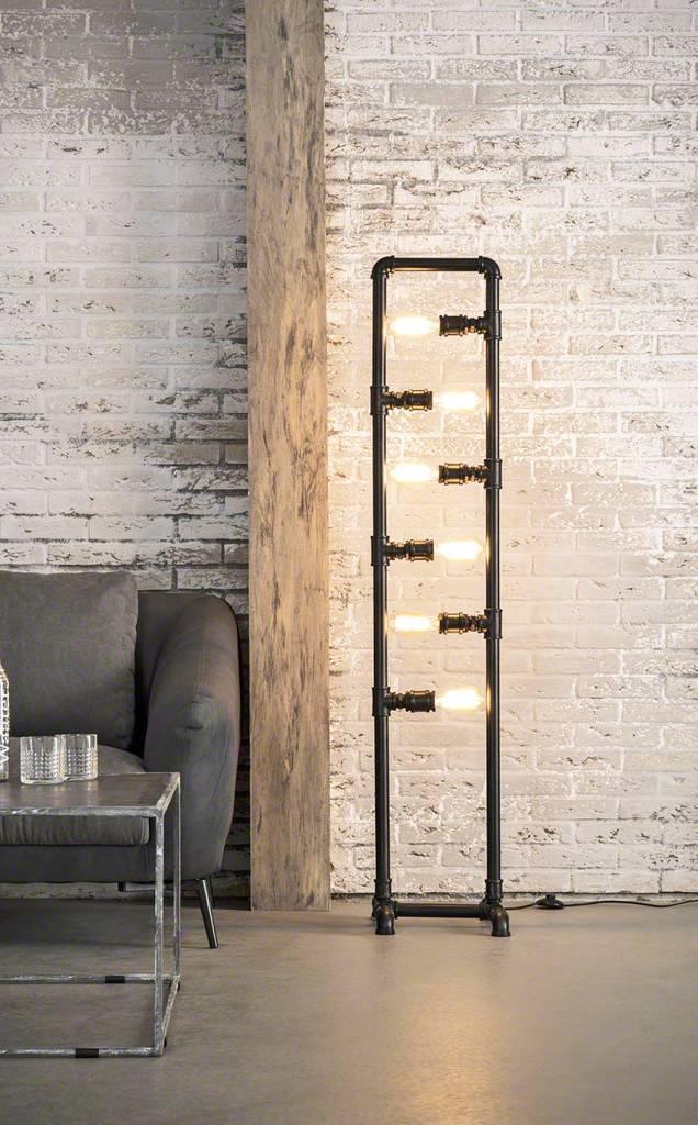 stehleuchte tube schwarz 6 flammig im industry style. Black Bedroom Furniture Sets. Home Design Ideas