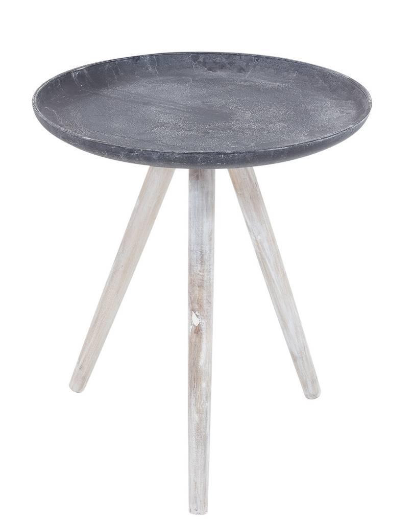 beistelltisch sand casted 45 cm metall platte beine holz 4250983112801 ebay. Black Bedroom Furniture Sets. Home Design Ideas