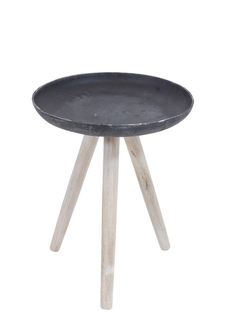 Beistelltisch SAND CASTED 35 cm Metall Platte, Beine Holz