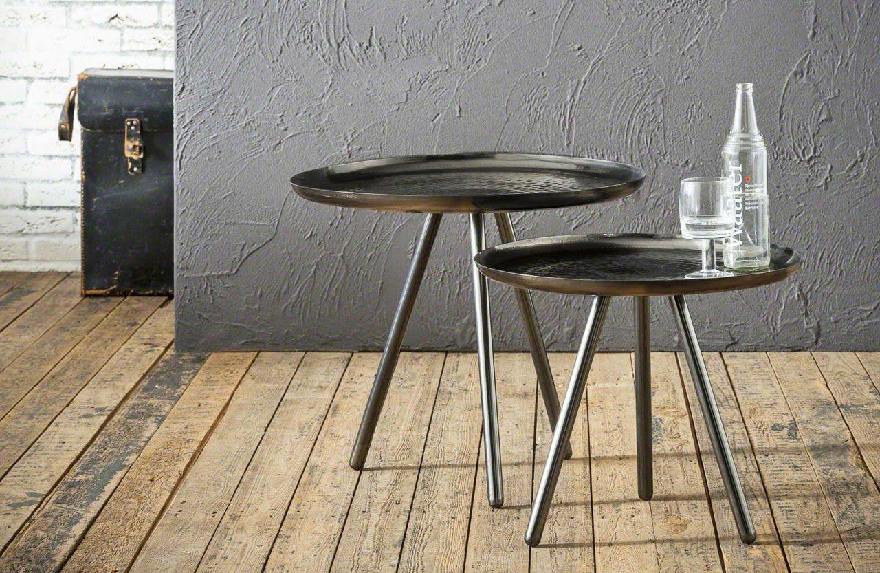 Beistelltisch GRENS 2-Satz-Tisch Metall vernickelt