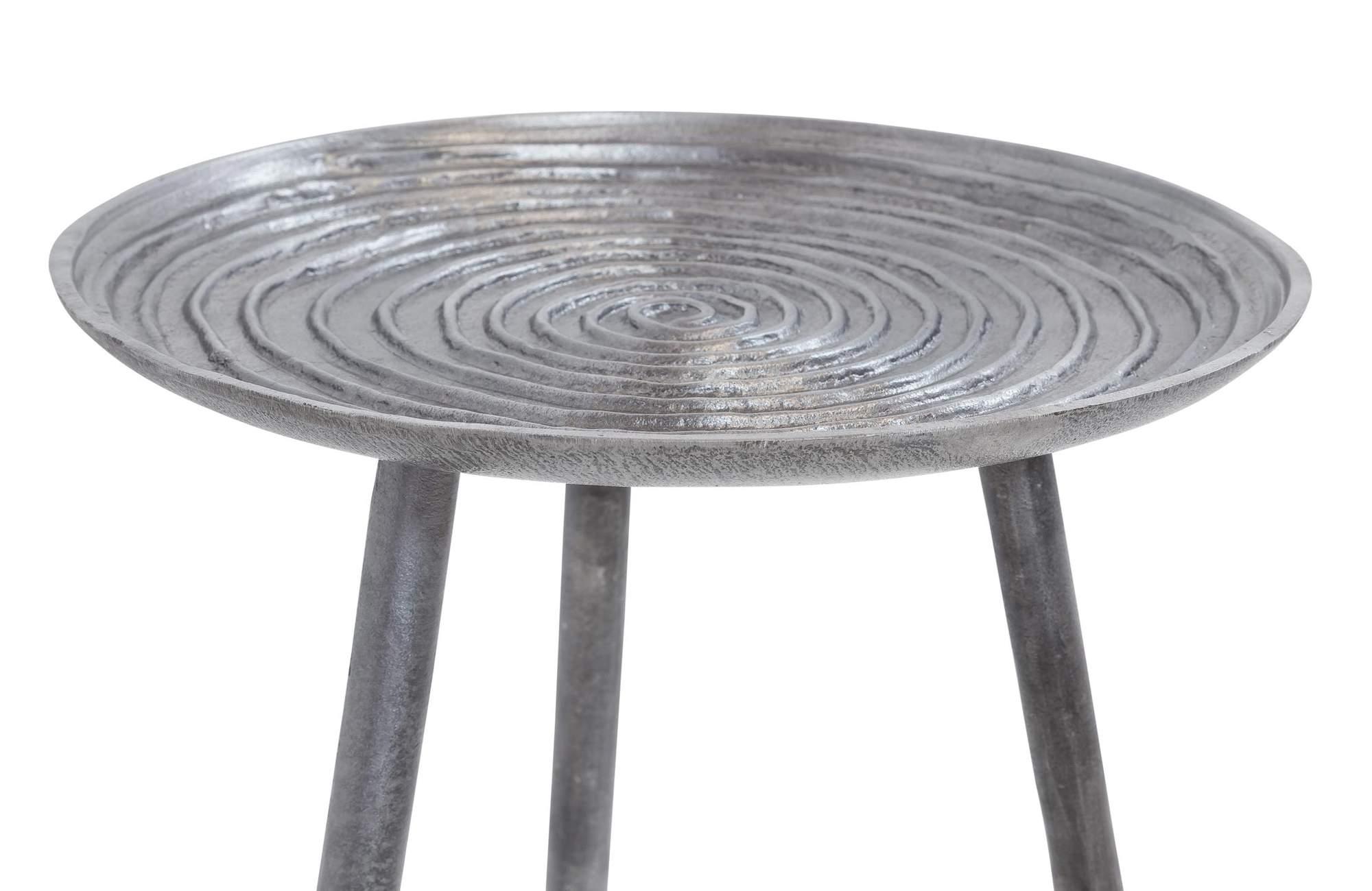 beistelltisch spiral 35 cm metall platte black nickel. Black Bedroom Furniture Sets. Home Design Ideas