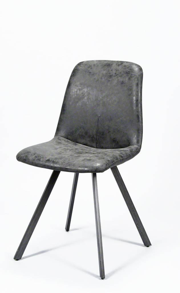 4er-Set Stuhl-Set Esszimmerstuhl NAAD Kunstleder Schwarz Stahlgestell