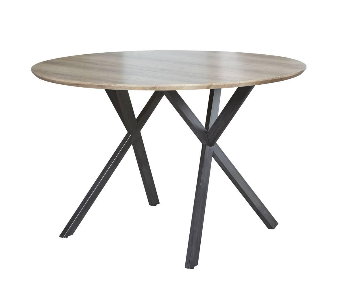 Esstisch HENK 120 cm Tischplatte 3D-Eiche Antik-Effekt rund