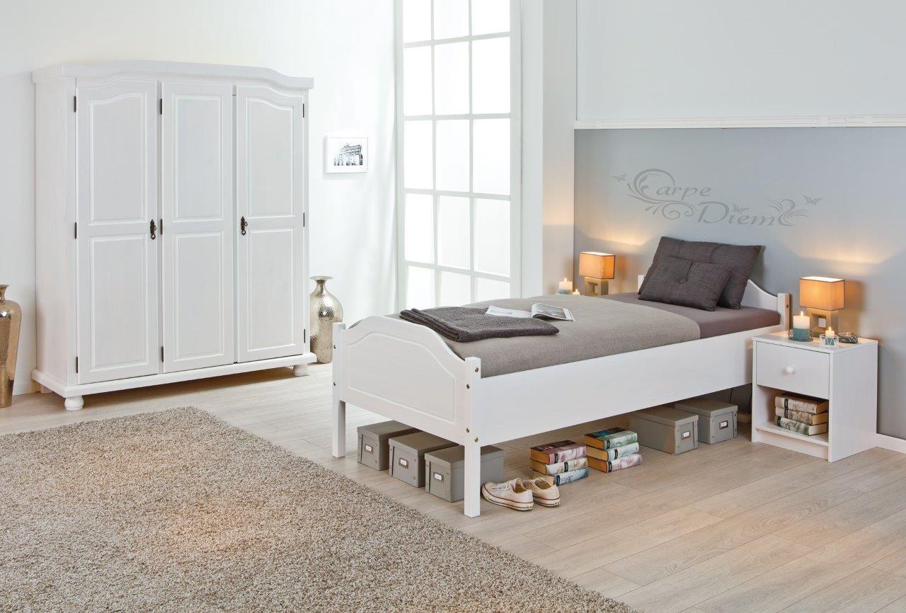 Exquisit Bett Einzelbett Ideen Von Bett Karlo 90x200, Kiefer Massiv, Weiß Lackiert