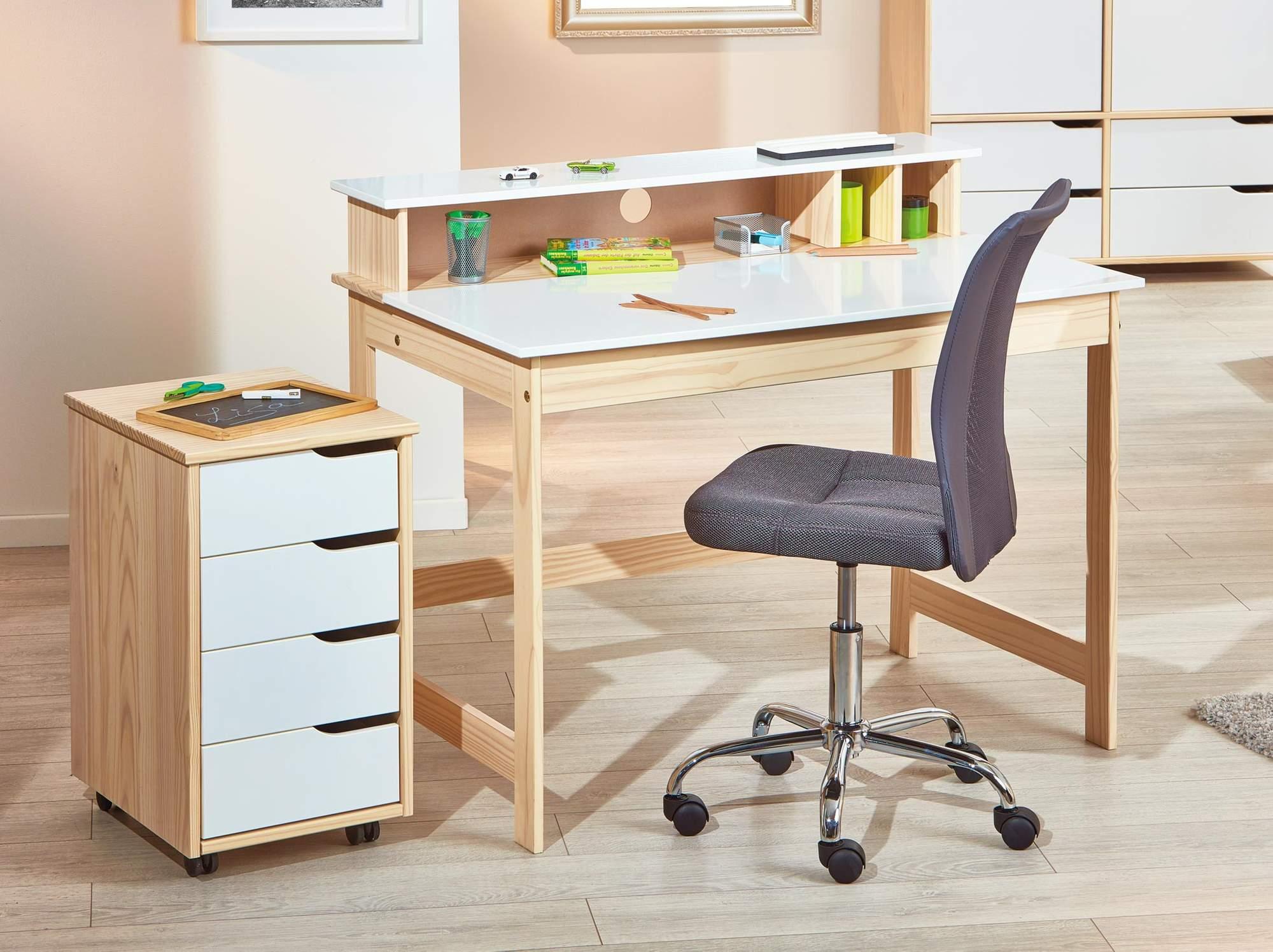 rollcontainer gudjam mit 4 schubk sten kiefer massiv front wei. Black Bedroom Furniture Sets. Home Design Ideas