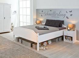 Bett KARLO Doppelbett 160x200, Kiefer massiv, Weiß lackiert