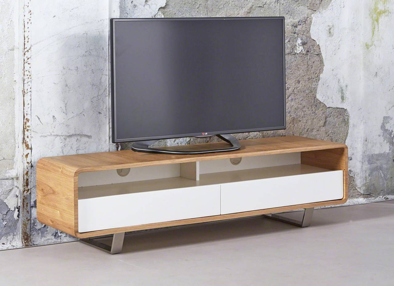 tv board lowboard eik 150 cm eiche natur und edelstahl ebay. Black Bedroom Furniture Sets. Home Design Ideas