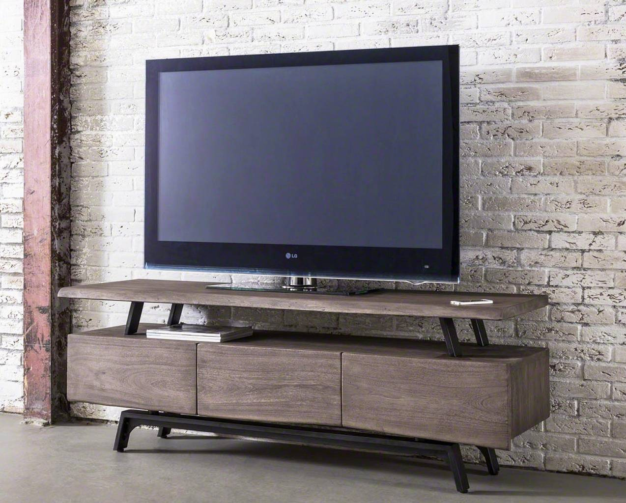 tv board lowboard booma akazie dunkel massivholz mit 3. Black Bedroom Furniture Sets. Home Design Ideas