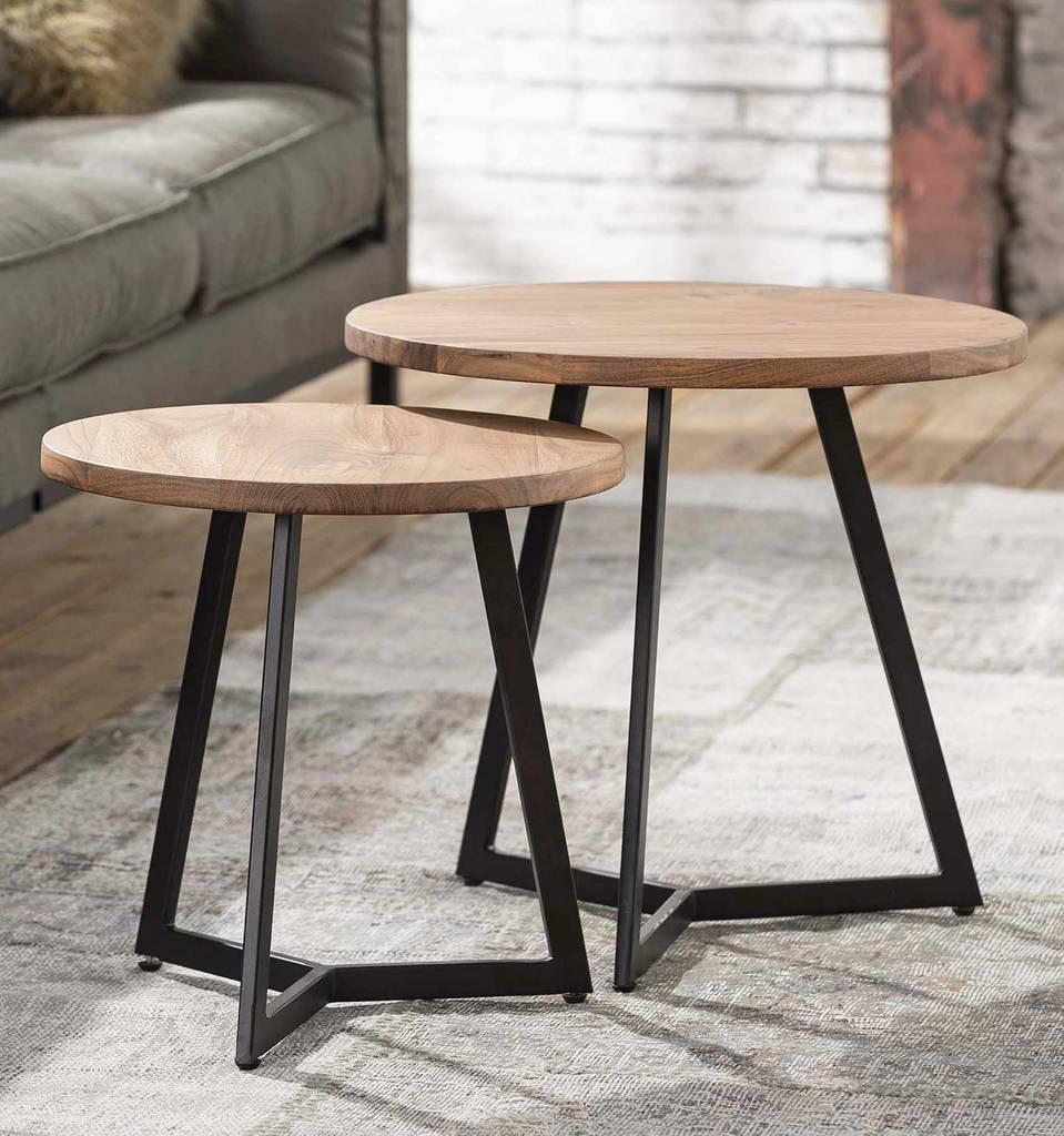 Beistelltisch RONDA 2er-Set Akazienholz Platte rund und Eisengestell
