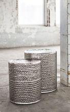 Beistelltisch-Set Hocker BROODJE Antik Nickel gehämmerte Oberfläche