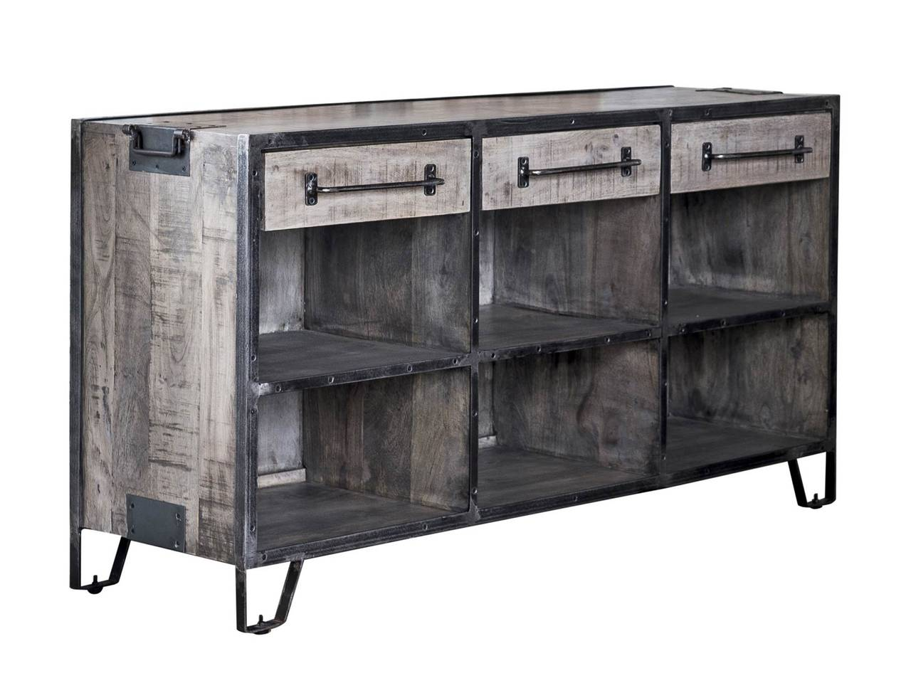 sideboard kommode rift 3 schubladen mangoholz lehmbraun. Black Bedroom Furniture Sets. Home Design Ideas