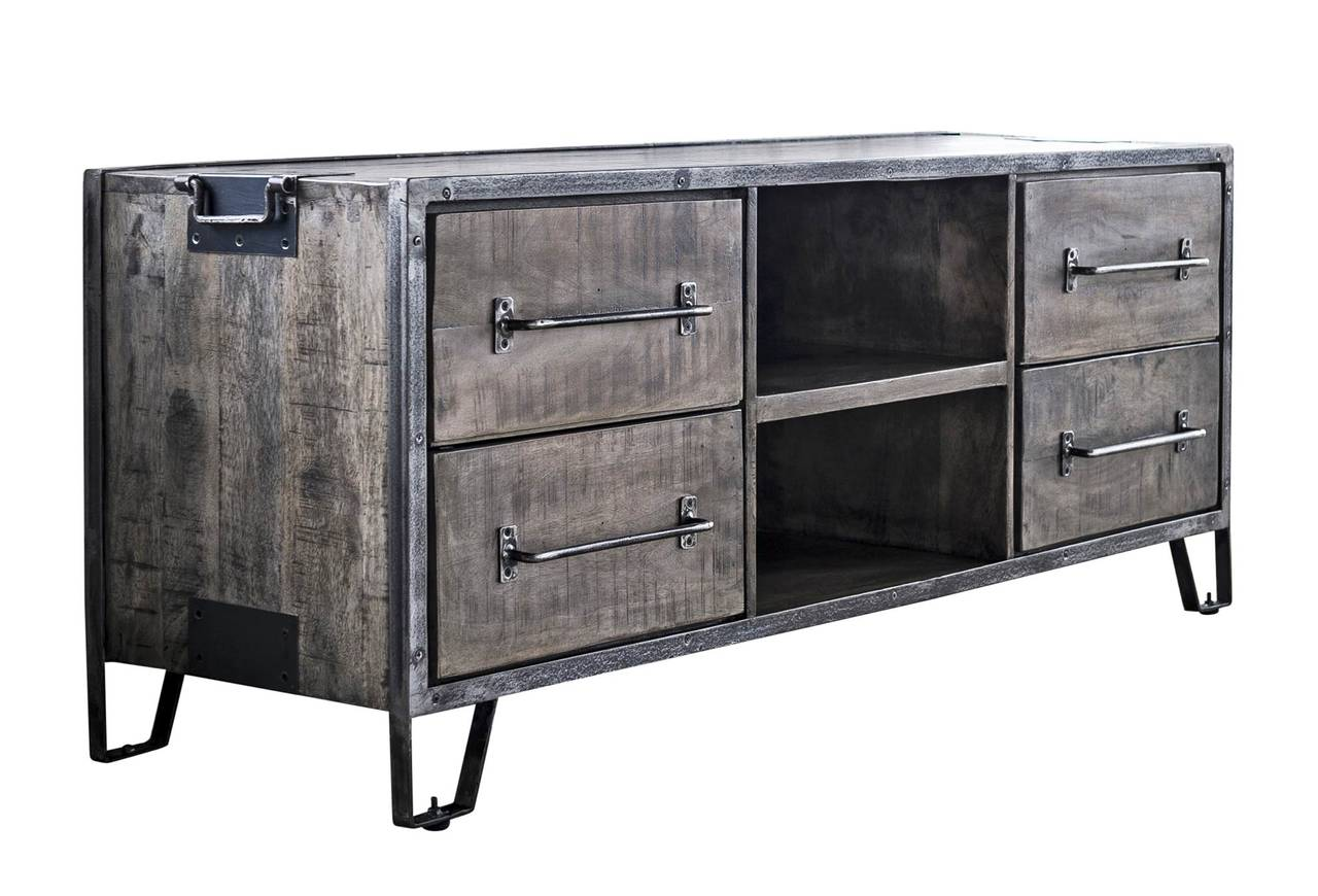 lowboard tv kommode rift 4 schubladen mangoholz lehmbraun antik look. Black Bedroom Furniture Sets. Home Design Ideas