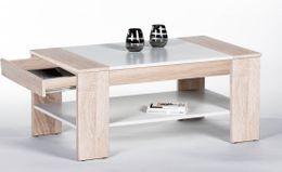 Couchtisch FINLEY PLUS 100 x 58 , Sonoma Eiche / Weiß