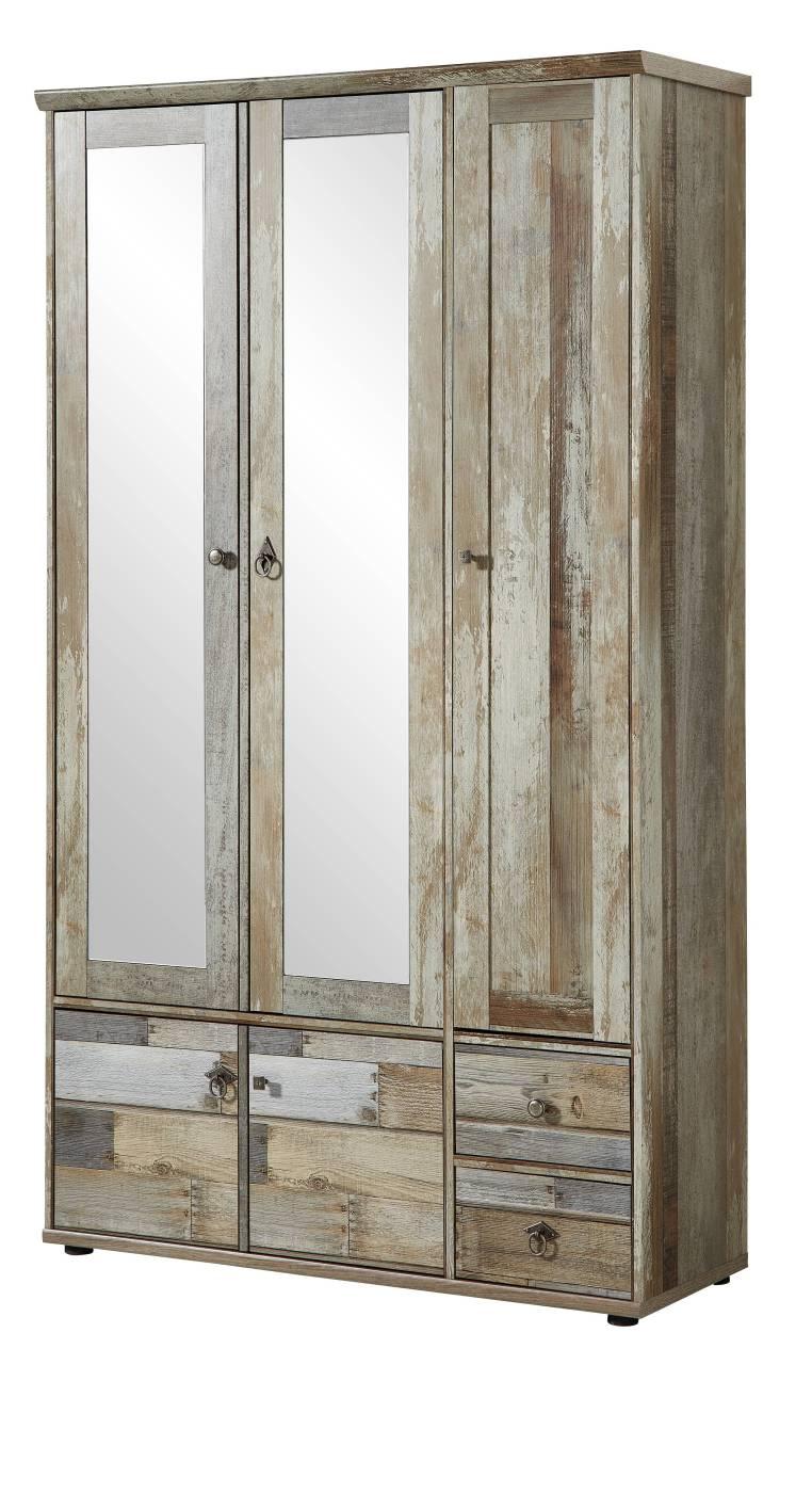 garderobenschrank bonanza 3 t rig mit spiegel driftwood nachbildung. Black Bedroom Furniture Sets. Home Design Ideas