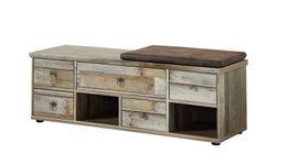Dielenbank Flurbank BONANZA 130 cm - Driftwood - inkl. Kissen