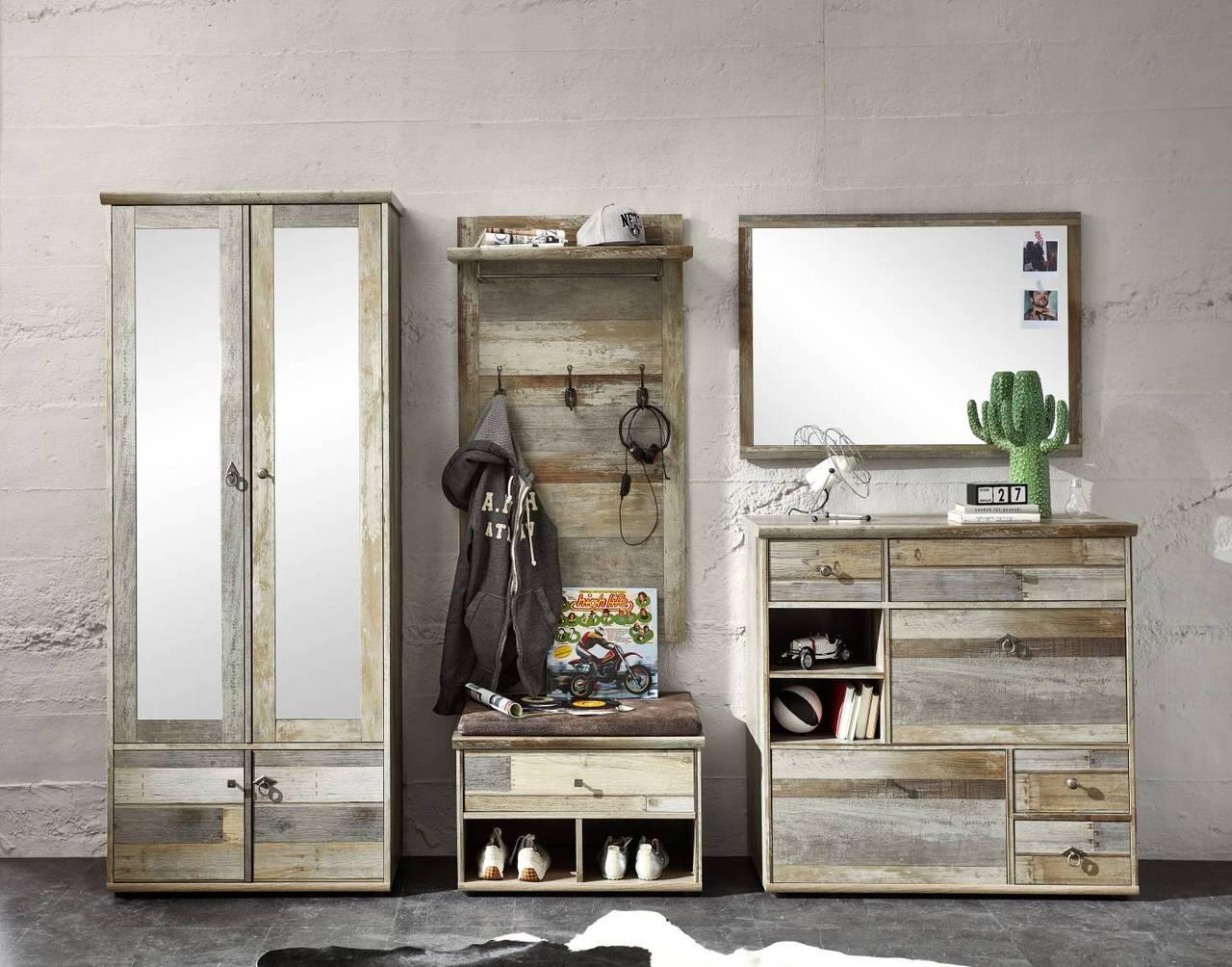 garderobenset bonanza dd80 driftwood nachbildung 5 teilig. Black Bedroom Furniture Sets. Home Design Ideas