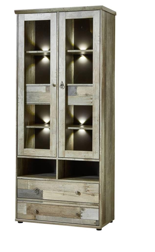 Vitrine BONANZA mit LED Beleuchtung - Driftwood Nachbildung