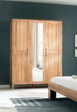 Kleiderschrank YLVA 3 Türen mit Spiegel Kernbuche massiv geölt
