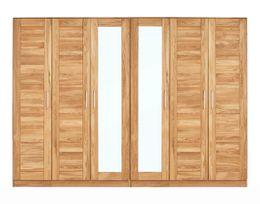 Kleiderschrank NAYA 6 Türen mit Kassetten / Spiegel Wildeiche geölt