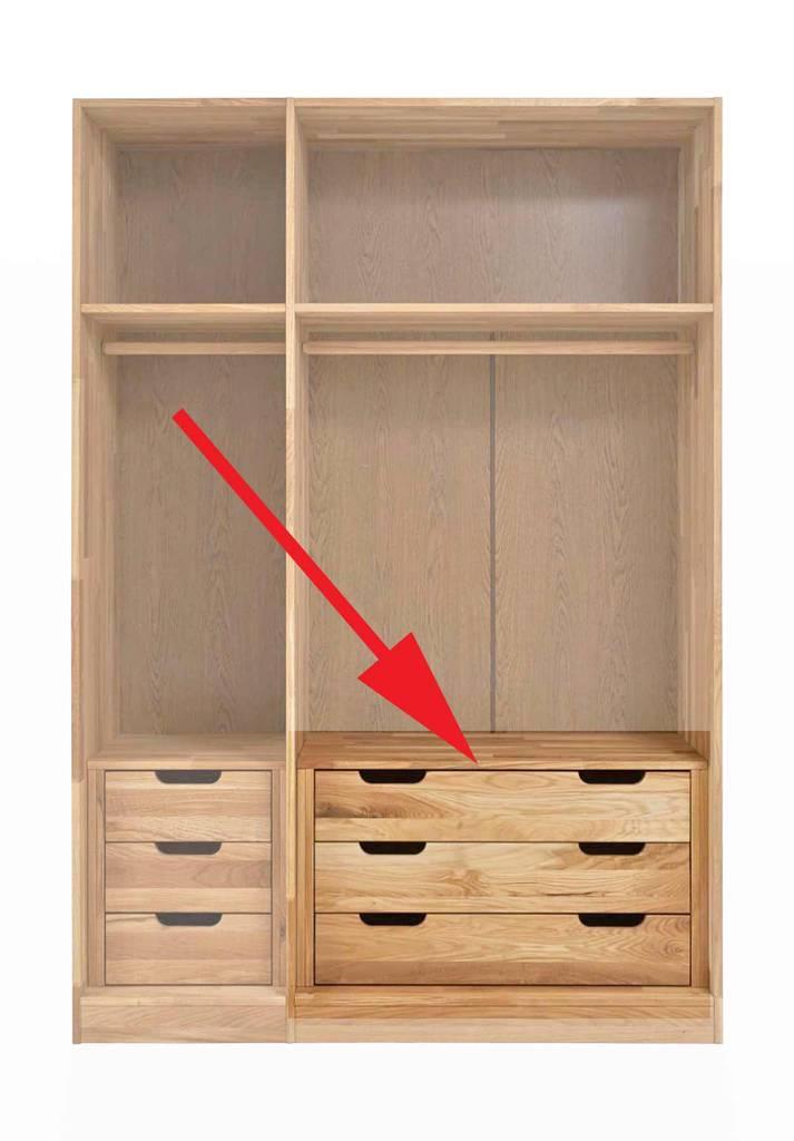Schubladenblock passend zum Schrank NAYA für 2-trg. Element 92 cm