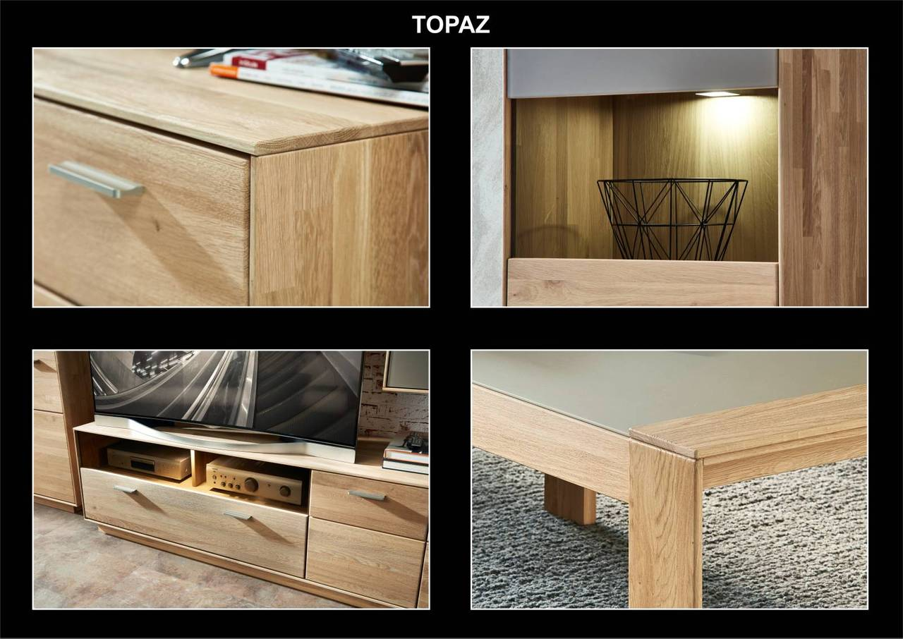 wohnwand topaz hm80 wildeiche bianco massiv 3 teilig montiert. Black Bedroom Furniture Sets. Home Design Ideas
