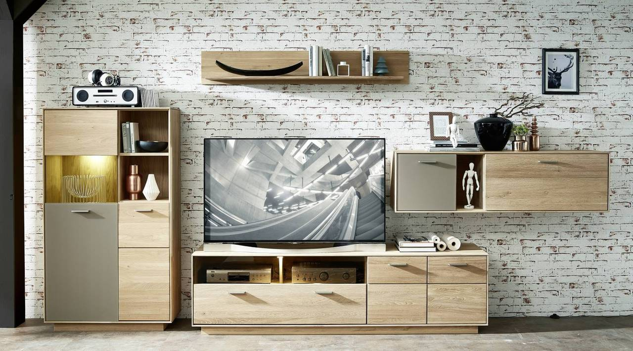 Wohnwand TOPAZ HM84 Wildeiche Bianco massiv 4-teilig montiert
